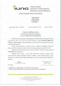 GreenOK Universal Pro IUNG sertifikāts